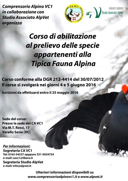 Locandina Corso Tipica Alpina VC 2016