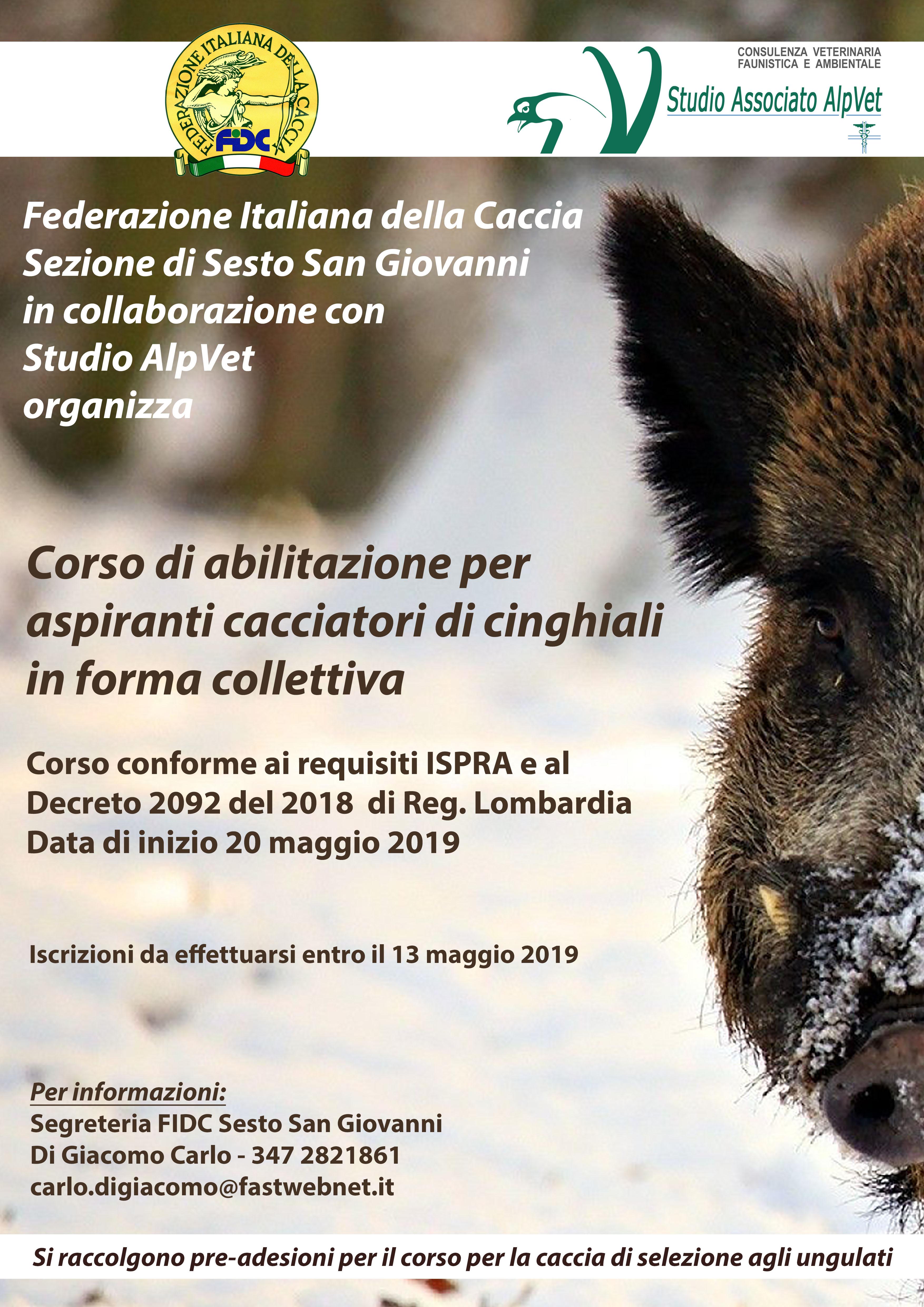 Locandina Corso Cinghiali SestoSG 2019