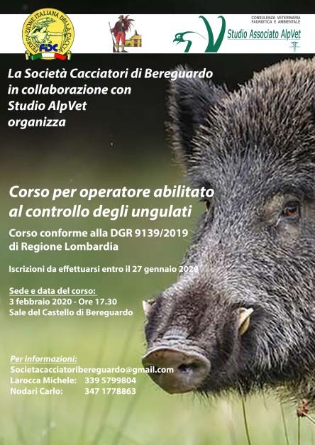 Locandina Corso Controllo Ungulati_Bereguardo_Febbraio